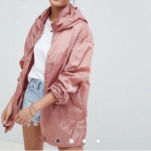 ASOS pink hooded wind breaker sz 14